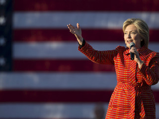 Democratic presidential candidate Hillary Clinton speaks during a campaign rally with her husband fo