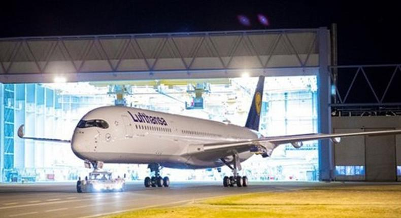 The first Airbus A350-900 for Lufthansa is rolled out of the Airbus paint shop