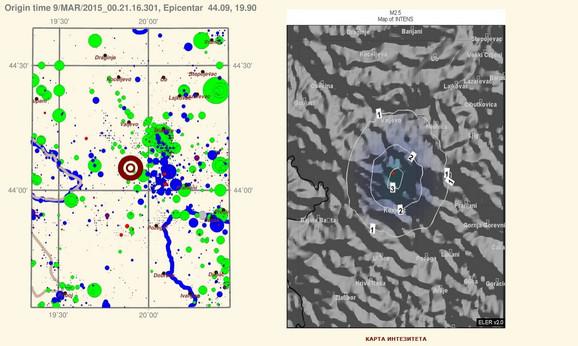 Mapa zemljotresa (klik za uvećanje)