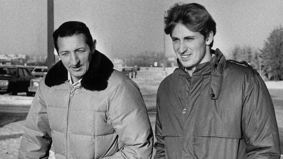 Walter Gretzky (po lewej) z synem Wayne'm, 1984 r.