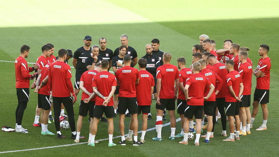 Reprezentacja Polski przed treningiem