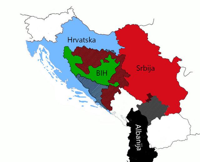 Mapa Balkana prema slovenačkom non-pejperu