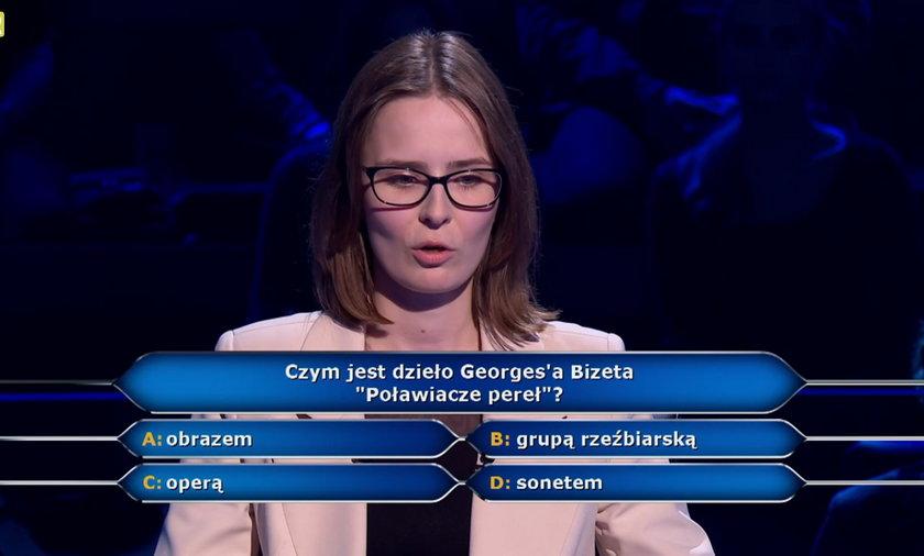 """""""Milionerzy"""" czym jest dzieło """"Poławiacze pereł"""" Georges'a Bizeta? Uczestniczka odpadła na tym pytaniu!"""