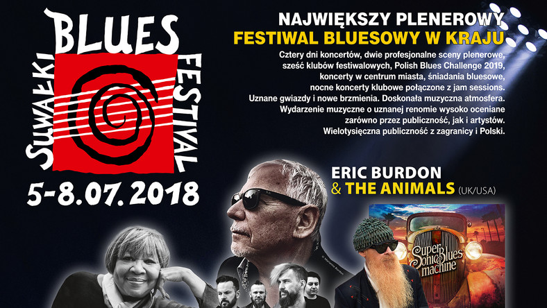 W najbliższy czwartek rozpocznie się - 11. edycja Suwałki Blues Festival. Festiwal potrwa od 5 do 8 lipca. Wystąpią na nim m.in. Eric Burdon & The Animals, Mavis Staples, Supersonic Blues Machine feat. Billy S. Gibbons oraz Organek.