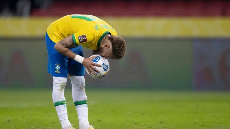 Neymar podczas meczu Brazylii z Ekwadorem w styczniu 2021 r.