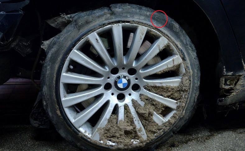 Opona z prezydenckiego BMW