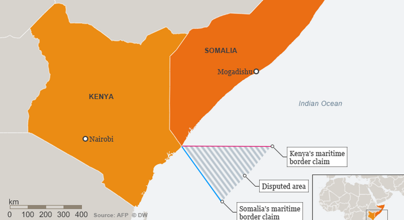 Info-graphic: A maritime border conflcit between Kenya and Somalia. (DW)
