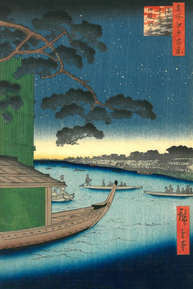 "Utagawa Hiroshige - ""Sosna Subi-no matsu i wybrzeze Ommayagashi nad rzeką Asakusagawa"", 1856 r."