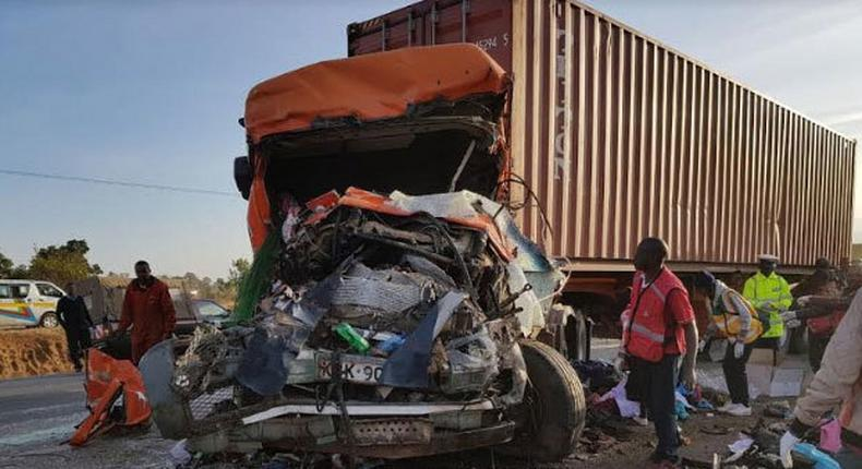 File image of a past accident scene. Two people died on the spot while two others were rushed to hospital after a road accident at Gilgil along the Nairobi-Nakuru highway