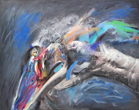 Marko Kusmuk, Slobodan pad, ulje na platnu 200x160 cm