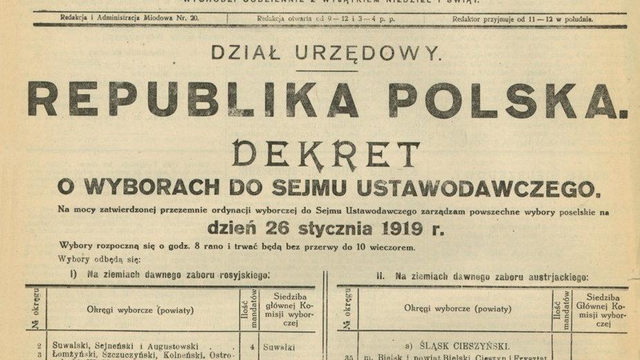 Dekret o wyborach do Sejmu Ustawodawczego opublikowany 29 listopada 1918 roku w Monitorze Polskim