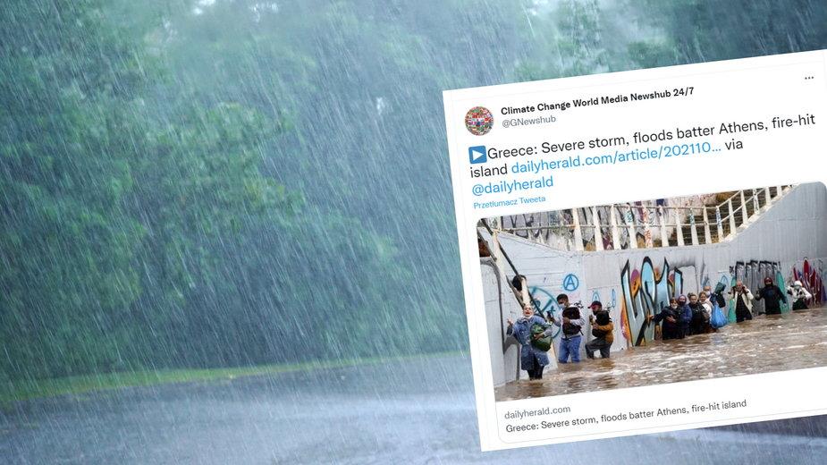 Ulewne deszcze przeszły przez Grecję. Setki domów i ulic podtopionych