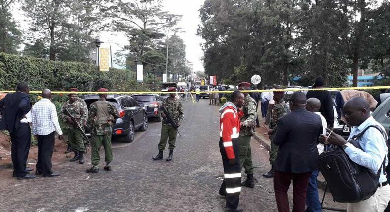 Heavily guarded scene of the Dusit terror attack, Nairobi (Twitter)