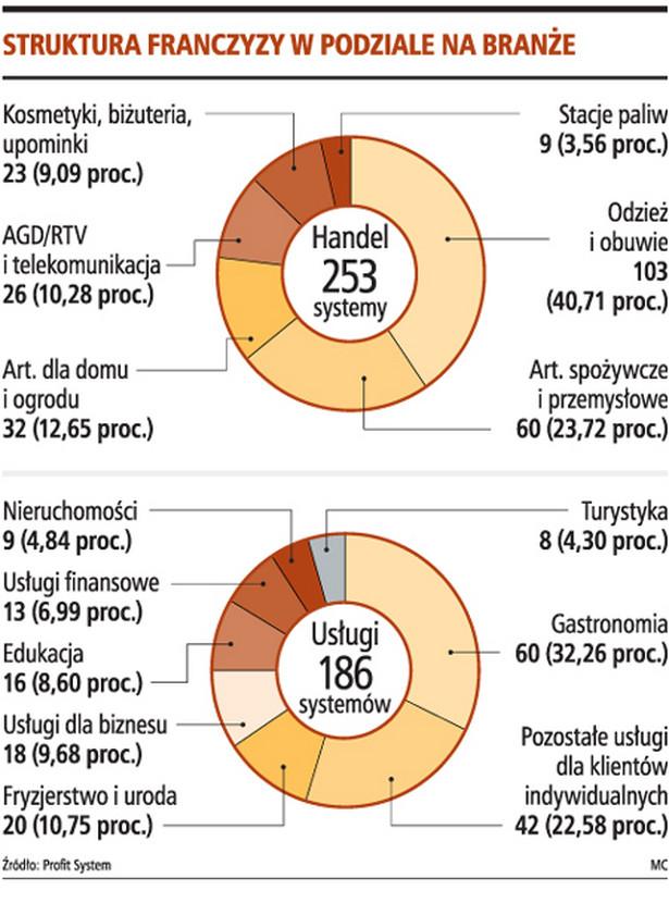 Struktura franczyzy w podziale na branże