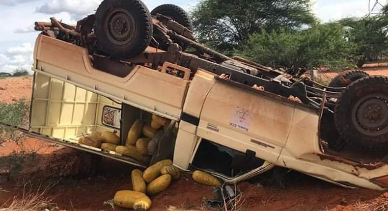 3 dead as Ambulance transporting bags of bhang crashes along Garissa -Modogashe