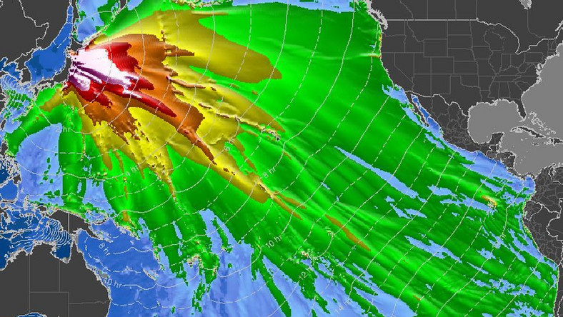 Obszar zagrożony falą tsunami na Pacyfiku