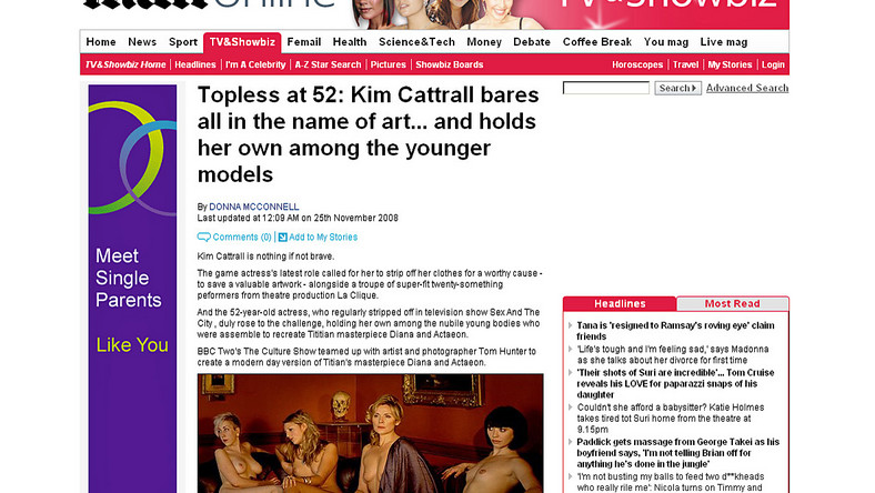 Kim Cattrall pozuje nago