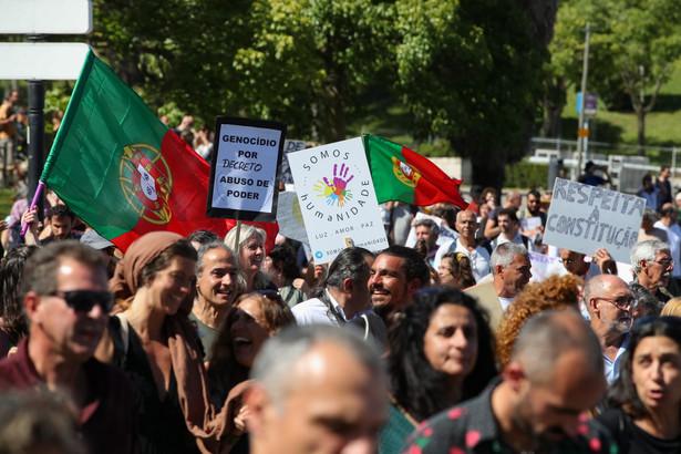 Portugalia. Manifestacja przeciwko obostrzeniom