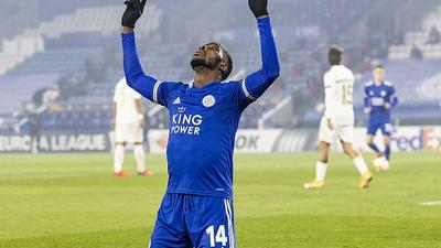Kelechi Iheanacho scores his first Premier League goal of the season for Leicester City
