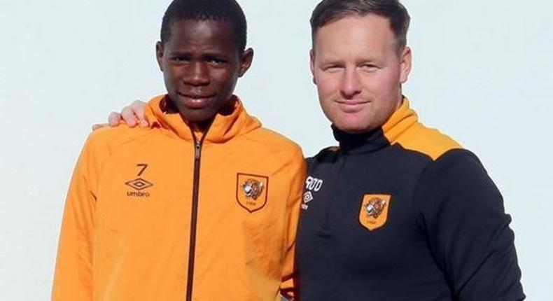 Joshua Otieno (left) with Academy coach Richard O'Donnell.