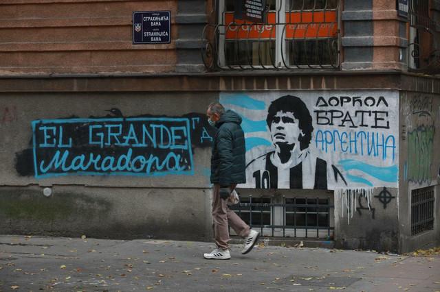 Dijego Maradona - grafit na Dorćolu u ulici Strahinjića Bana