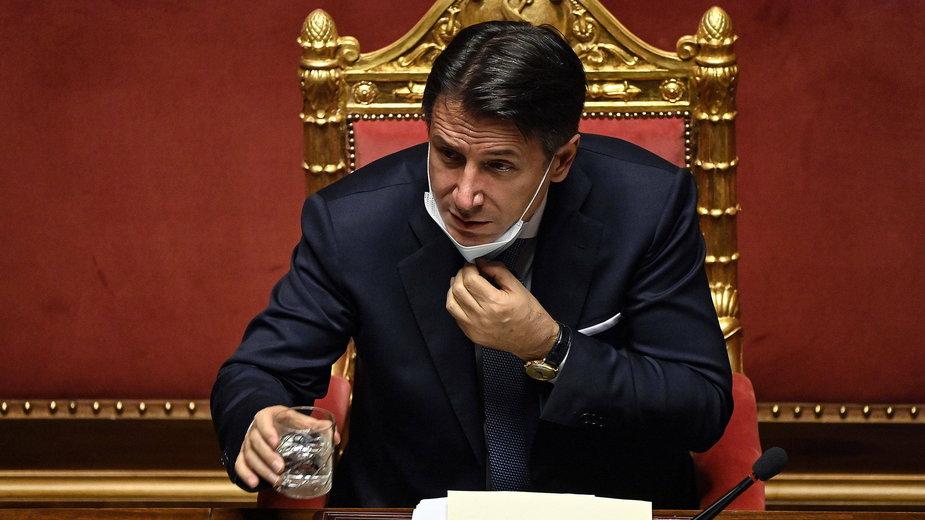 Premier Giuseppe Conte przemawia we włoskim Senacie