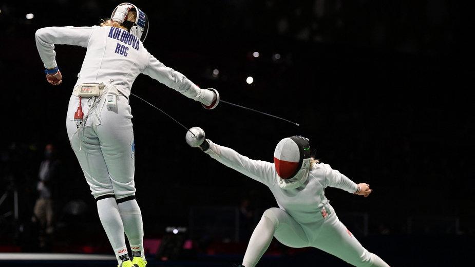 Aleksandra Jarecka (z prawej) podczas swojej pierwszej walki na igrzyskach w Tokio