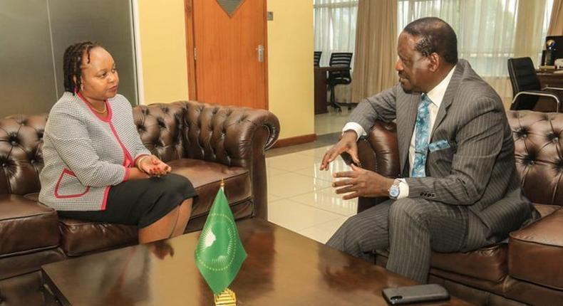 ODM leader Raila Odinga with Kirinyaga governor Anne Waiguru