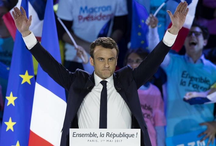 French presidential election candidate Emmanuel Macron campaign rally in Paris
