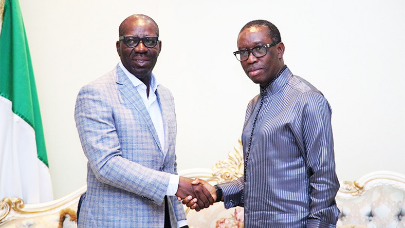 (Right) Governor Ifeanyi Okowa of Delta State congratulates Governor Godwin Obaseki on his re-election (Source Magazine)