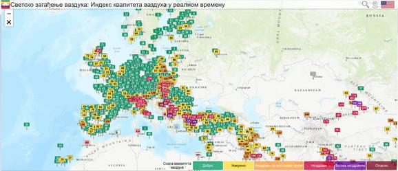 Mapa zagađenja pokazuje da je naš region najproblematičniji u Evropi