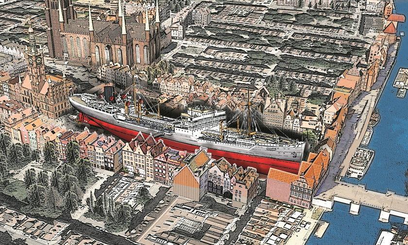 """""""Franken"""" to jeden z największych zatopionych wraków. Miał 179 metrów długości, dla porównania Długi Targ w Gdańsku mierzy 197 metrów"""