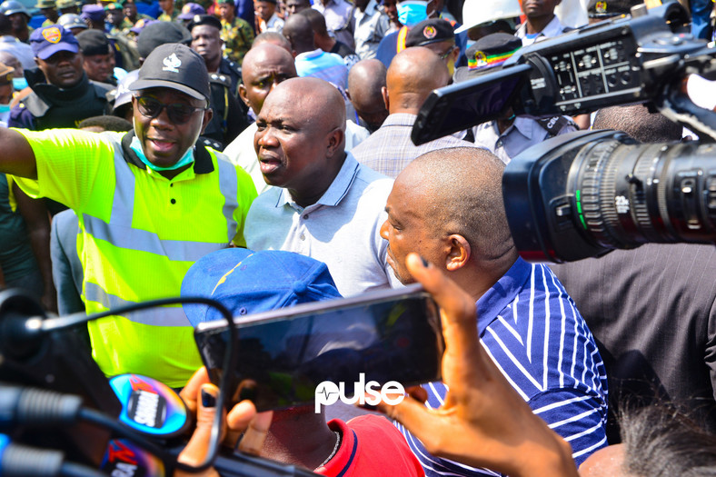Governor Akinwunmi Ambode at the site of the collapsed building (Pulse)