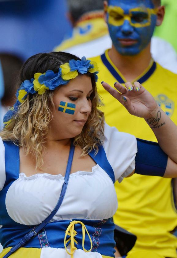 Navijačica Švedske pred meč sa Engleskom