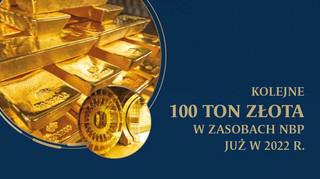 Kolejne 100 t złota w zasobach NBP w 2022 r.?