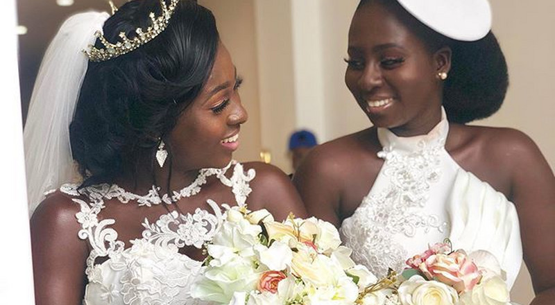 These photos of Ghanaian bride and her bridesmaids in white matching gowns will captivate you