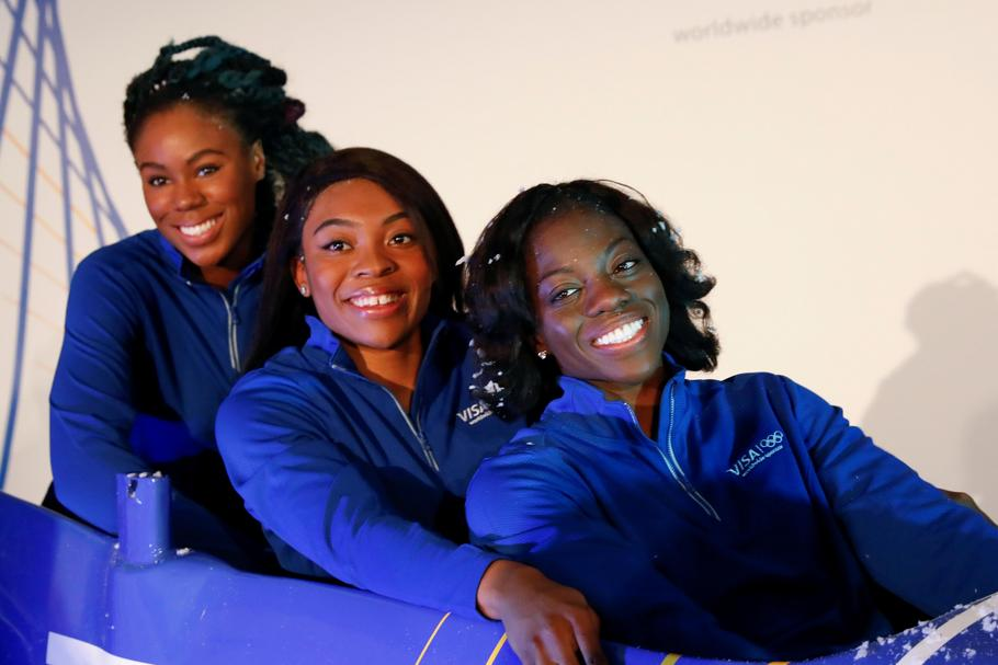 Seun Adigun, Ngozi Onwumere and Akuoma Omeoga, members of the Nigerian Women's Bobsled Team, pose du