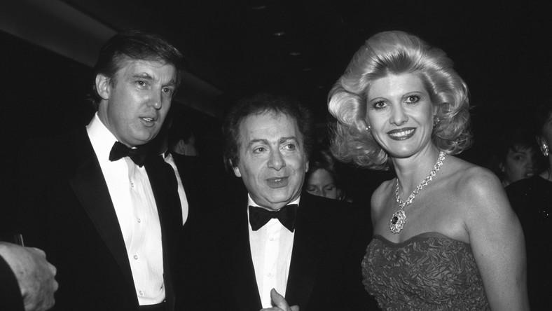 Jackie Mason w towarzystwie Donalda i Ivany Trumpów, rok 1987