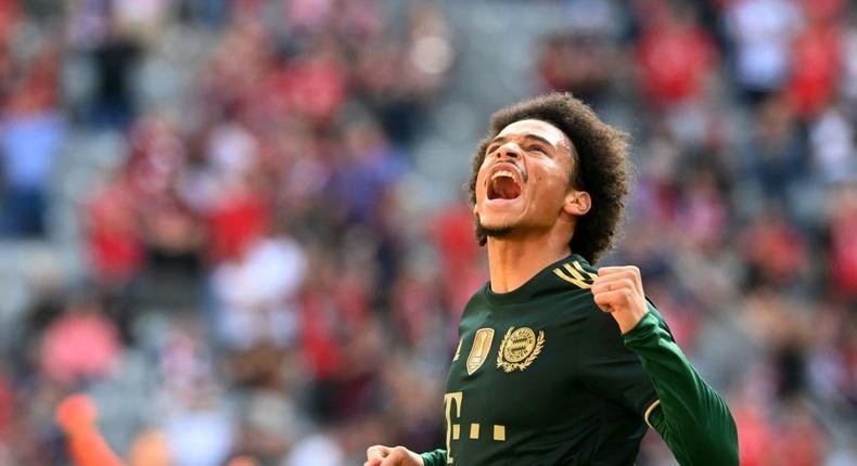 Bayern Munich winger Leroy Sane celebrates scoring the opening goal on Saturday Creator: Christof STACHE