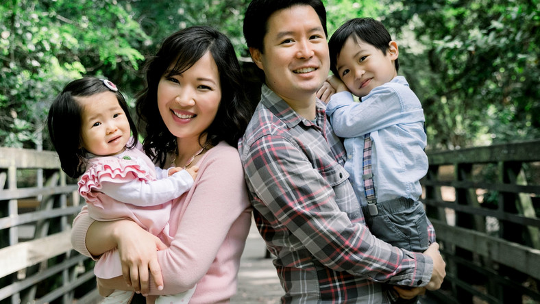 Eric Bahn, his wife Beatrice Kim, and their two children.