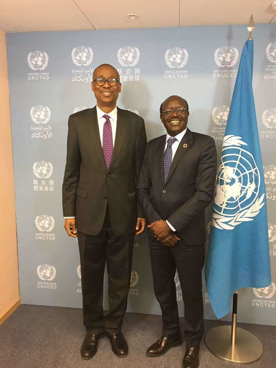 Nigerian Minister of Industry, Trade and Investment Dr. Okechukwu Enelamah and Sec. Gen of United Nations Conference on Trade and Development (UNCTAD), Dr. Mukhisa Kituyi at the e-Commerce week in Geneva.