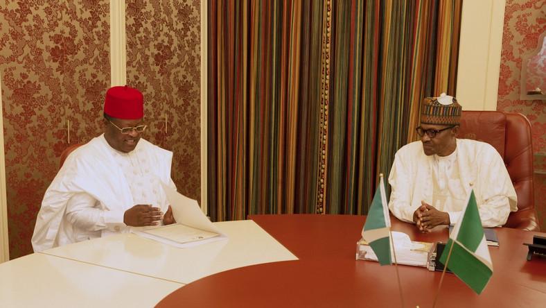 President Muhammadu Buhari and receives in guest Governor of Ebonyi State, H.E Dave Umahi at Aso Rock [Twitter/@BashirAhmaad]
