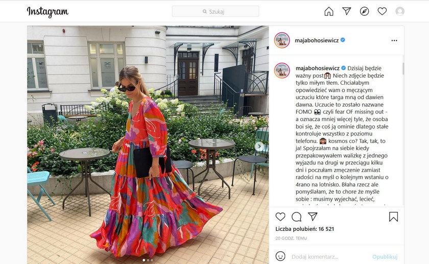 Maja Bohosiewicz przyznała się w mediach społecznościowych, że od lat cierpi na FOMO