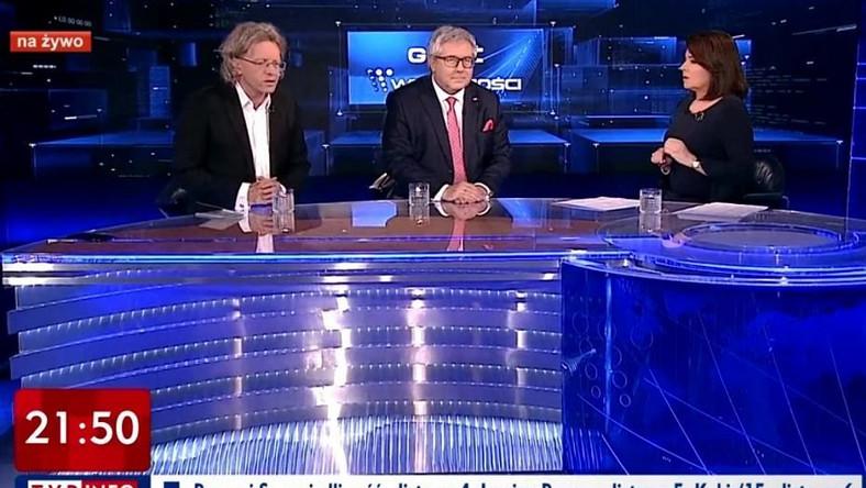 """Program """"Gość Wiadomości"""" Danuty Holeckiej z Krzysztofem Mieszkowskim i Ryszardem Czarneckim / screen"""