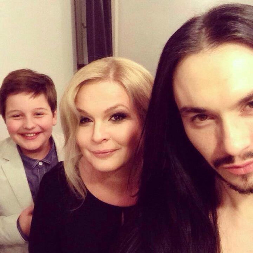 Dominika Ostałowska z synem i byłym mężem