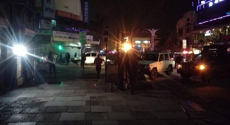 Scene at Latema/Tom Mboya junction where there was an explosion on Saturday.  Courtesy)