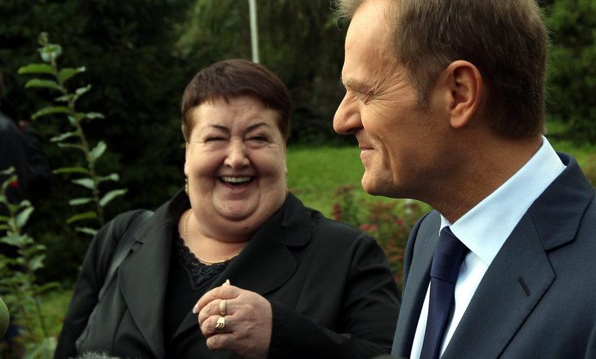 Henryka Krzywonos i Donald Tusk