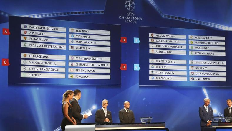 A general view shows the draw for the 2016/2017 UEFA Champions League Cup soccer competition at Monaco's Grimaldi Forum in Monte Carlo in Monaco