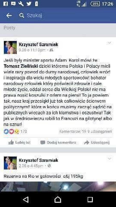 Krzysztof Szramiak broni Tomasza Zielińskiego i szokuje na facebooku