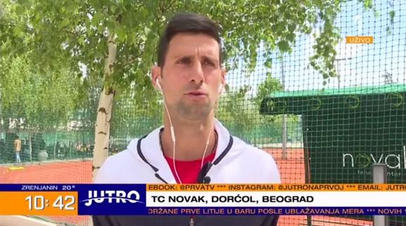 Novak Đoković tokom uključenja u Jutarnji program TV Prva